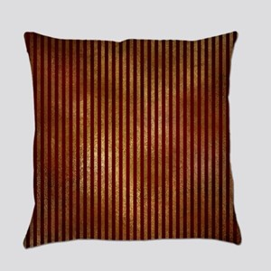Red Gold Stripes Everyday Pillow