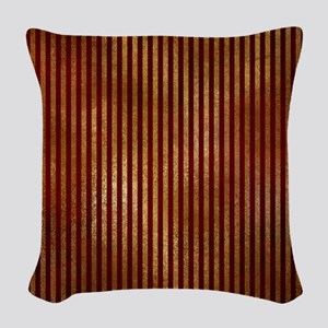 Red Gold Stripes Woven Throw Pillow