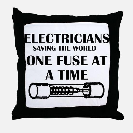 electricians saving the world sparky Throw Pillow