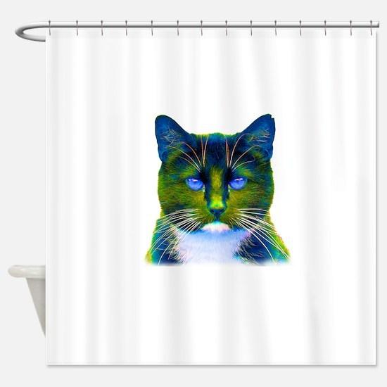 Neon Green Blue Zen Cat Shower Curtain