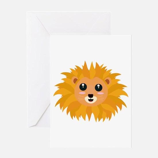 Kawaii lion head Greeting Cards