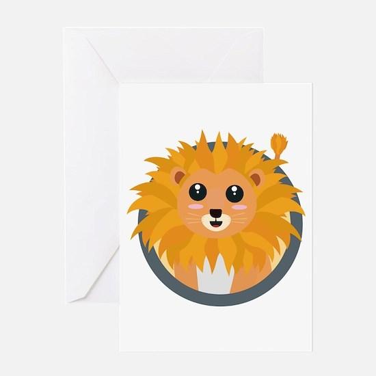 Kawaii lion with circle Greeting Cards