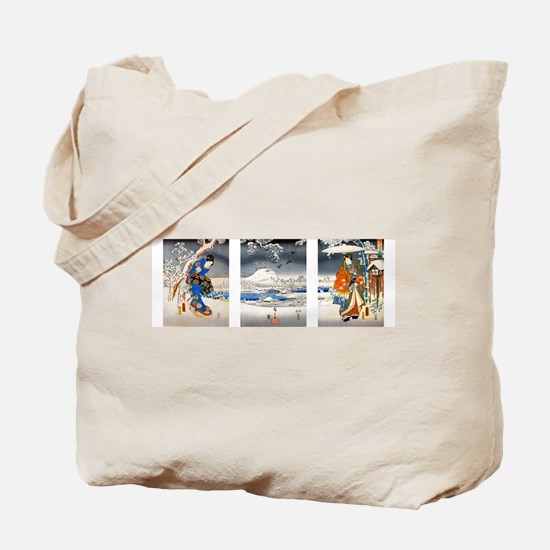 Viewing the Snow Triptych Tote Bag