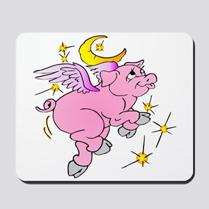 Pink Flying Pig #2 Mousepad