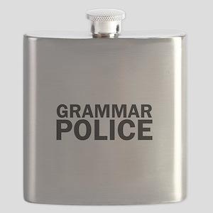 Grammar Police Funny Cute Flask