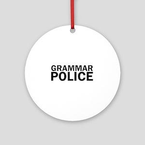 Grammar Police Funny Cute Round Ornament