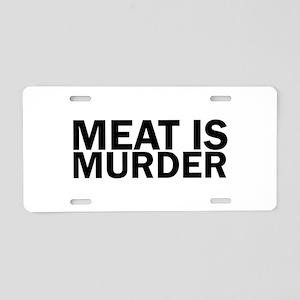 Meat Is Murder Vegetarian V Aluminum License Plate