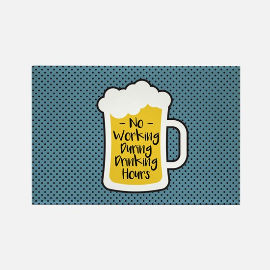 Cute Beer drinking garden gnome Rectangle Magnet