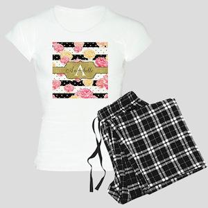 Chic Horizontal Stripes Monogram Pajamas