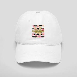 Chic Horizontal Stripes Monogram Baseball Cap