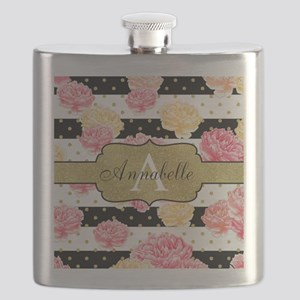 Chic Horizontal Stripes Monogram Flask
