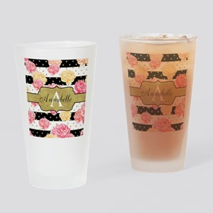 Chic Horizontal Stripes Monogram Drinking Glass