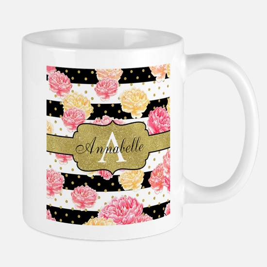 Chic Horizontal Stripes Monogram Mugs