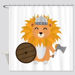 Lion viking with helmet Shower Curtain