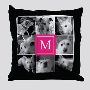 Photo Block with Rose Monogram Throw Pillow