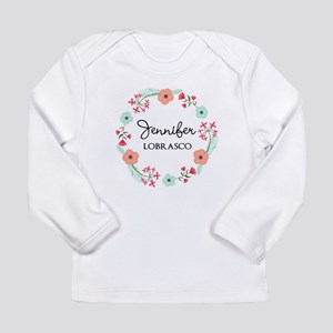 Personalized Floral Wreath Long Sleeve T-Shirt