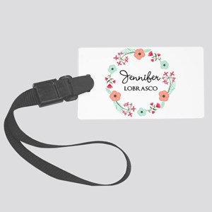 Personalized Floral Wreath Luggage Tag