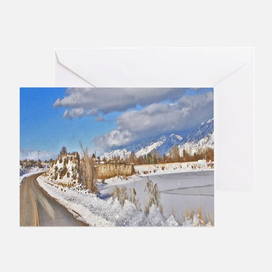 Vintage winter road Greeting Cards