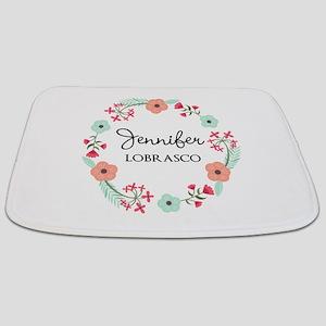 Personalized Floral Wreath Bathmat
