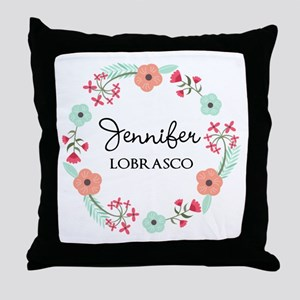 Personalized Floral Wreath Throw Pillow