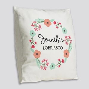 Personalized Floral Wreath Burlap Throw Pillow
