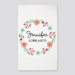 Personalized Floral Wreath Area Rug