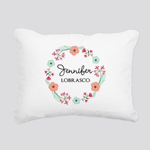 Personalized Floral Wreath Rectangular Canvas Pill