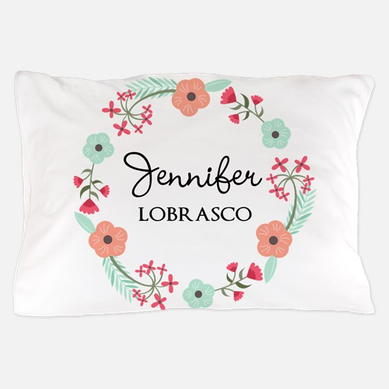 Personalized Floral Wreath Pillow Case