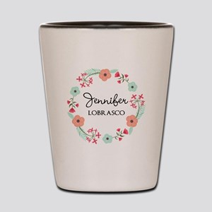 Personalized Floral Wreath Shot Glass