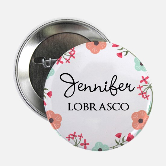 "Personalized Floral Wreath 2.25"" Button"