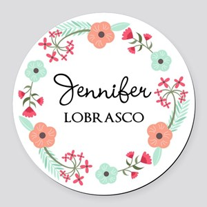 Personalized Floral Wreath Round Car Magnet