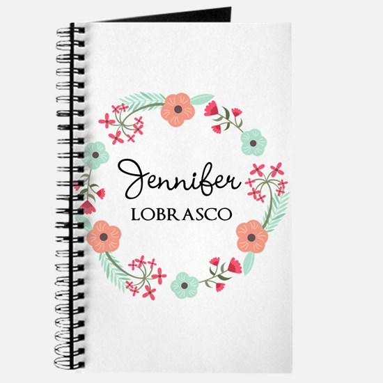 Personalized Floral Wreath Journal