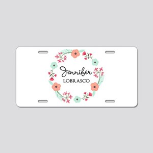 Personalized Floral Wreath Aluminum License Plate