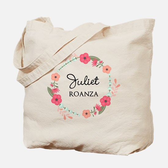 Flower Wreath Name Monogram Tote Bag