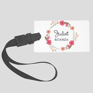 Flower Wreath Name Monogram Luggage Tag
