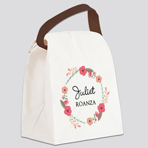 Flower Wreath Name Monogram Canvas Lunch Bag