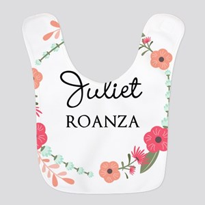 Flower Wreath Name Monogram Polyester Baby Bib