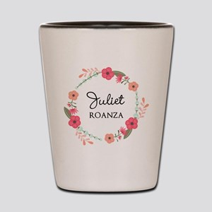 Flower Wreath Name Monogram Shot Glass
