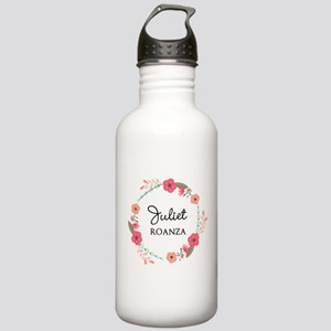 Flower Wreath Name Monogram Water Bottle