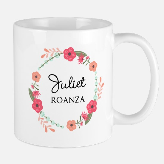 Flower Wreath Name Monogram Mugs