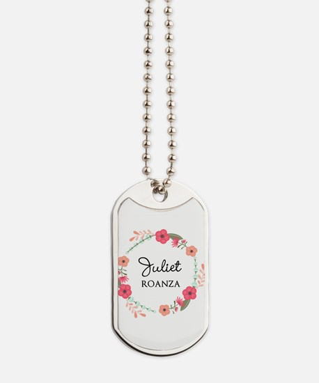 Flower Wreath Name Monogram Dog Tags