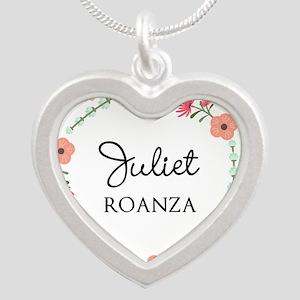 Flower Wreath Name Monogram Necklaces