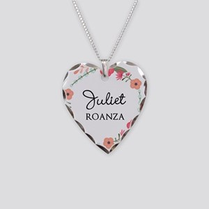 Flower Wreath Name Monogram Necklace