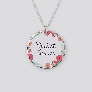 Flower Wreath Name Monogram Necklace