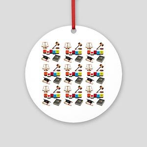 I Love Law Round Ornament