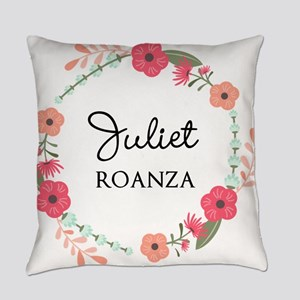 Flower Wreath Name Monogram Everyday Pillow