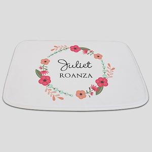 Flower Wreath Name Monogram Bathmat