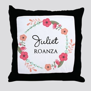 Flower Wreath Name Monogram Throw Pillow