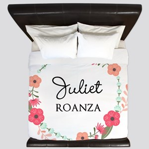 Flower Wreath Name Monogram King Duvet