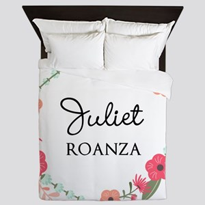 Flower Wreath Name Monogram Queen Duvet